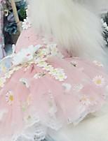 Недорогие -Собаки Инвентарь Платья Одежда для собак Цветы Черный Розовый Полиэстер Костюм Назначение Лето Свадьба