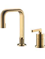Недорогие -Ванная раковина кран - Широко распространенный Матовое золото Другое Одной ручкой Два отверстияBath Taps