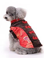 Недорогие -Собаки Коты Животные Платья Одежда для собак С принтом Черный Пурпурный Красный Полиэстер Костюм Назначение Весна Этнический Новый год