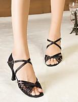 Недорогие -Жен. Танцевальная обувь Искусственная кожа Обувь для латины На каблуках Тонкий высокий каблук Черный / Желтый / Красный