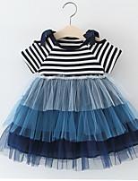 Недорогие -Дети (1-4 лет) Девочки Классический Полоски С короткими рукавами Выше колена Платье Розовый