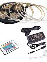 Недорогие -5 метров Гибкие светодиодные ленты / RGB ленты / Пульты управления 300 светодиоды SMD3528 1 пульт дистанционного управления 24Keys / 1 адаптер x 12V 2A RGB / Водонепроницаемый / Можно резать