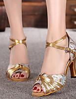 Недорогие -Жен. Танцевальная обувь Искусственная кожа Обувь для латины На каблуках Тонкий высокий каблук Черный / Золотой