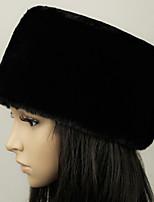 Недорогие -Универсальные Классический Широкополая шляпа Искусственный мех,Однотонный Зима Черный Белый Верблюжий