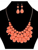 cheap -Women's Resin Necklace Geometrical Drop Cute Earrings Jewelry Black / Rose Red / Lake Blue For Holiday 1 set