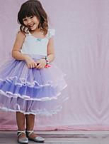 Недорогие -Дети Девочки Симпатичные Стиль Контрастных цветов Платье Лиловый