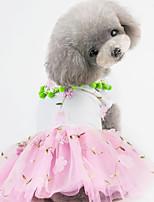 Недорогие -Собаки Коты Животные Платья Одежда для собак Вышивка Желтый Красный Розовый Полиэстер Костюм Назначение Лето С цветами