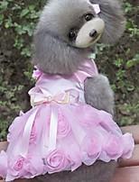 Недорогие -Собаки Платья Одежда для собак Цветы Лиловый Розовый Полиэстер Костюм Назначение Лето Мужской Свадьба