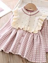 Недорогие -Дети Девочки Симпатичные Стиль Геометрический принт Платье Розовый