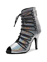 Недорогие -Жен. Танцевальная обувь Синтетика Обувь для латины На каблуках Тонкий высокий каблук Персонализируемая Серебро / черный / Бронзовый