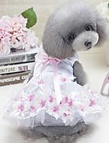 Недорогие -Собаки Инвентарь Платья Одежда для собак Цветы Бант Белый Лиловый Красный Полиэстер Костюм Назначение Лето Свадьба