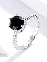 Недорогие -Серебряное кольцо с черным цирконием для женщин