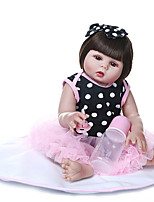 cheap -NPKCOLLECTION 20 inch Reborn Doll Baby Baby Girl Gift Hand Made Artificial Implantation Brown Eyes Full Body Silicone Silica Gel Vinyl with Clothes and Accessories for Girls' Birthday and Festival