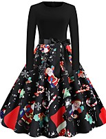 Недорогие -Жен. Изысканный Элегантный стиль С летящей юбкой Платье - Геометрический принт В снежинку, С принтом Выше колена Дед Мороз Снеговик
