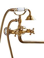 Недорогие -Смеситель для душа / Смеситель для ванны / Ванная раковина кран - Античный Античная медь Другое Керамический клапан Bath Shower Mixer Taps