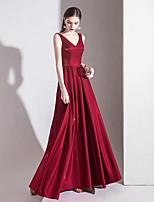 Недорогие -А-силуэт V-образный вырез В пол Сатин Винтажная коллекция Выпускной Платье с от LAN TING Express