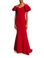Недорогие -Русалка С открытыми плечами Со шлейфом средней длины Джерси Торжественное мероприятие Платье с от LAN TING Express