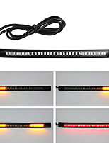 cheap -2pcs Flexible Motorcycle Brake Light 48LED License Plate Light Red Amber Tail Brake Stop Turn Signal Lamp With Cable Wire