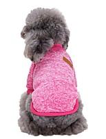 Недорогие -Собаки Толстовка Одежда для собак Однотонный Темно-красный Светло-синий Лиловый Флис Костюм Назначение Корги Гончая Шиба-Ину Весна Осень Универсальные Простой стиль Мода