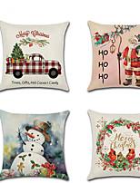Недорогие -4.0 штук Лён Наволочка, Праздник Мультипликация Традиционный Рождество Бросить подушку