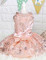Недорогие -Собаки Инвентарь Платья Одежда для собак Вышивка Золотой Розовый Полиэстер Костюм Назначение Лето Свадьба