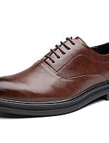 Недорогие -Муж. Комфортная обувь Микроволокно Лето Туфли на шнуровке Дышащий Черный / Коричневый