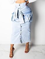 Недорогие -Жен. Облегающий силуэт Подол Однотонный Светло-синий Белый S M L