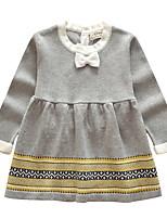 Недорогие -Дети Девочки Симпатичные Стиль Полоски Платье Серый