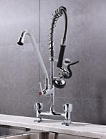 Недорогие -бар прибор палуба крепление двойные отверстия выдвижной спрей клапан кухонная раковина кран мини-предварительная промывка