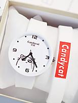 Недорогие -Девочки Кварцевые Мода Черный Белый Розовый силиконовый Кварцевый Черный Белый Розовый Повседневные часы Милый 1 ед. Аналоговый Один год Срок службы батареи / Нержавеющая сталь