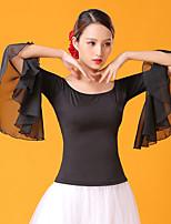 Недорогие -Бальные танцы Топы Жен. Выступление Ice Silk (искусственное волокно) Рюши / сборки Рукав 3/4 Кофты