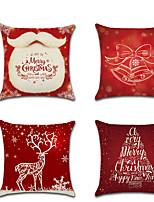 Недорогие -4.0 штук Лён Наволочка, Особый дизайн Мультипликация Традиционный Рождество Бросить подушку