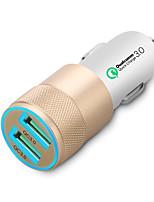 Недорогие -световой qc3 0 автомобильное зарядное устройство металла двойной порт USB многофункциональное автомобильное зарядное устройство