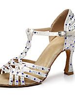 """Недорогие -Жен. Танцевальная обувь Сатин Обувь для латины На каблуках Каблук """"Клеш"""" Белый / Розовый"""