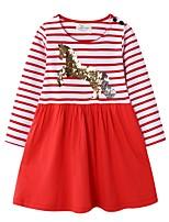 Недорогие -Дети Девочки Симпатичные Стиль Полоски Платье Красный