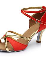Недорогие -Жен. Танцевальная обувь Лакированная кожа Обувь для латины На каблуках Тонкий высокий каблук Персонализируемая Красный