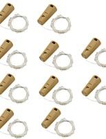 Недорогие -1.5м гирлянда 15 светодиодов теплый белый / многоцветная вечеринка / декоративные / свадьба на батарейках 10шт