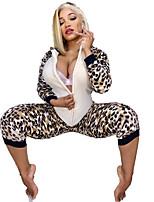 Недорогие -Жен. Активный / Классический Белый Комбинезоны, Леопард S M L