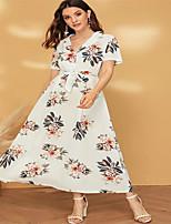 Недорогие -Жен. Элегантный стиль С летящей юбкой Платье - Цветочный принт, Пэчворк Макси