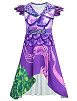 Недорогие -Дети Девочки Милая Симпатичные Стиль Контрастных цветов Halloween Без рукавов Средней длины Платье Лиловый