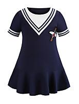 Недорогие -Дети Дети (1-4 лет) Девочки Классический Милая Однотонный Вышивка С короткими рукавами Выше колена Платье Синий