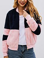 Недорогие -Жен. Повседневные Обычная Искусственное меховое пальто, Контрастных цветов V-образный вырез Длинный рукав Искусственный мех Розовый