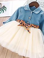 Недорогие -Дети Девочки Классический Однотонный Длинный рукав Выше колена Платье Синий