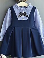 Недорогие -Дети Девочки Однотонный Платье Синий