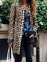 Недорогие -Жен. Повседневные Длинная Тренч, Леопард Без воротника Длинный рукав Полиэстер Коричневый