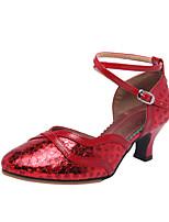 Недорогие -Жен. Танцевальная обувь Синтетика Обувь для латины / Обувь для модерна Пайетки На каблуках Кубинский каблук Коричневый / Темно-красный / Золотой