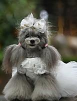 Недорогие -Собаки Инвентарь Платья Одежда для собак Однотонный Белый Красный Синий Полиэстер Костюм Назначение Лето Свадьба