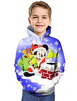 Недорогие -Дети Дети (1-4 лет) Мальчики Активный Классический Дед Мороз Геометрический принт Галактика С принтом С принтом Длинный рукав Худи / толстовка Синий