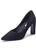 Недорогие -Жен. Обувь на каблуках На толстом каблуке Заостренный носок Кружева Сатин На каждый день Для прогулок Наступила зима Черный / Миндальный / Темно-синий