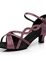 Недорогие -Жен. Танцевальная обувь Сатин Обувь для латины На каблуках Тонкий высокий каблук Черный / Лиловый / Оранжевый